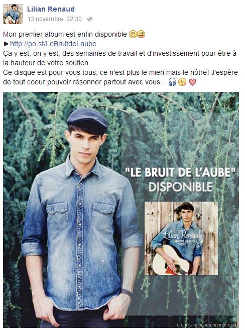 Lilian s'est adressé à ses fans via son compte Facebook pour les prévenir que son premier album est enfin disponible.