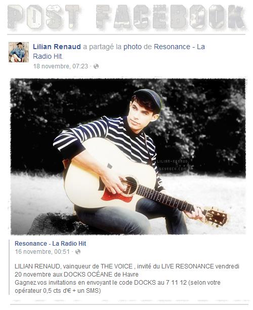 """Lilian s'est adressé à ses fans via son compte Facebook pour le faire partager une photo de la page """"Resonance""""."""