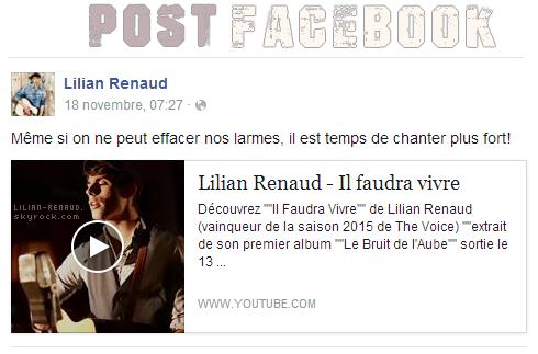 Lilian s'est adressé à ses fans via son compte Facebook pour le faire partager son soutien
