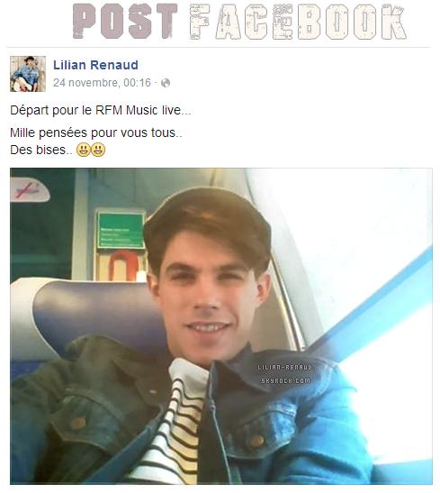 Lilian s'est adressé à ses fans via son compte Facebook pour faire part d'une photo.