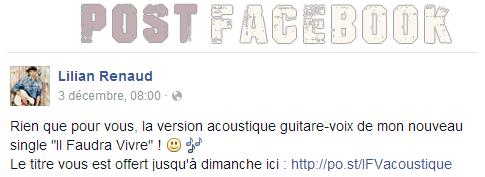 """Lilian s'est adressé à ses fans via son compte Facebook pour le faire partager la version acoustique guitare-voix de son nouveau single """"Il Faudra Vivre""""."""