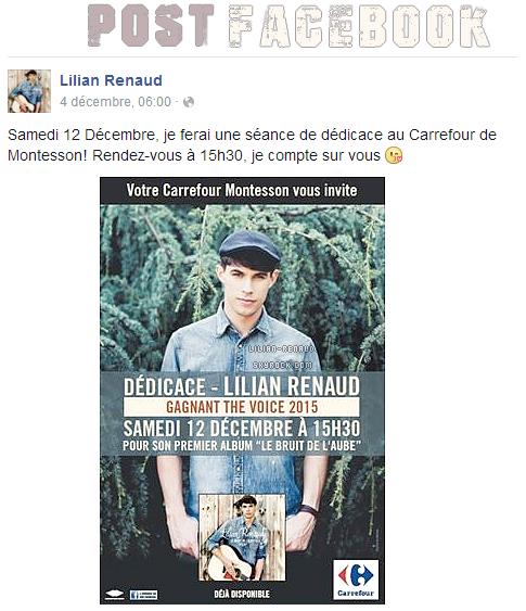 Lilian s'est adressé à ses fans via son compte Facebook pour annoncer une séance de dédicace au Carrefour de Montesson le samedi 12 décembre.