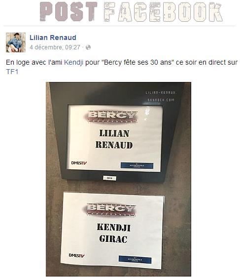 Lilian s'est adressé à ses fans via son compte Facebook pour faire parvenir une photo de sa loge et de celle de Kendji Girac !
