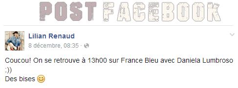 Lilian s'est adressé à ses fans via son compte Facebook pour les rassembler au rendez-vous sur France Bleu avec Daniela Lumbroso.