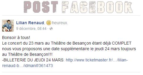 Lilian s'est adressé à ses fans via son compte Facebook pour annoncer un nouveau concert prévu le jeudi 24 mars 2016 au Théâtre de Besançon.