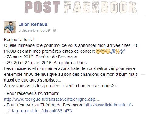 Lilian s'est adressé à ses fans via son compte Facebook pour les prévenir des premières dates de concert.