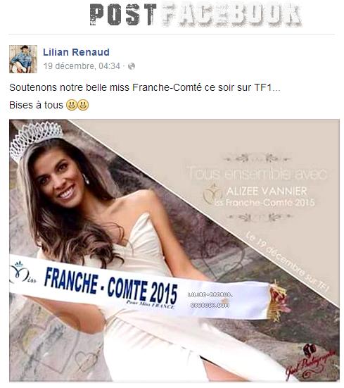 Lilian s'est adressé à ses fans via son compte Facebook pour soutenir la belle Miss Franche-Comté sur TF1.