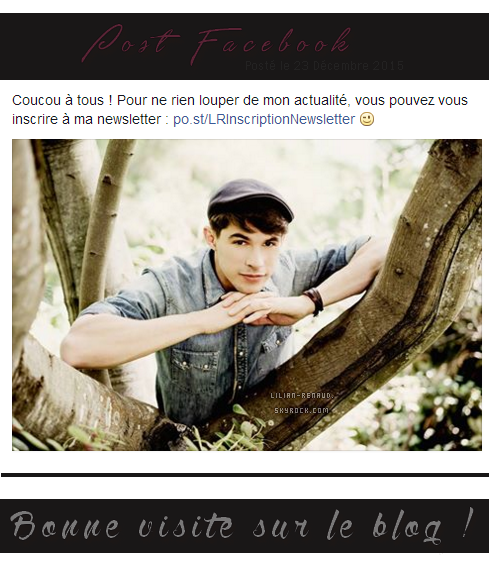 Lilian s'est adressé à ses fans via son compte Facebook pour inviter ses nouveaux fans à suivre son actualité en s'inscrivant à la newsletter.