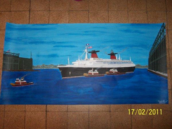 Voilà la peinture du SS France avec sont Vernis mat et la date et signature cette peinture sera bientôt livrer à son propriétaire.