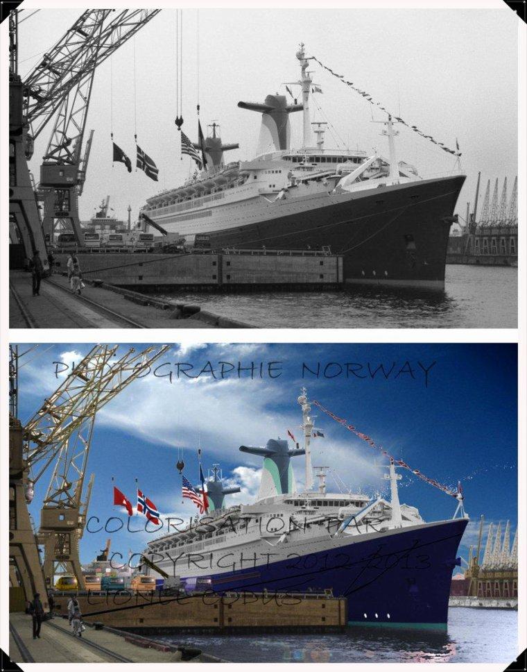 Nouvelle photographie coloriser du SS Norway en noir et blanc en couleur