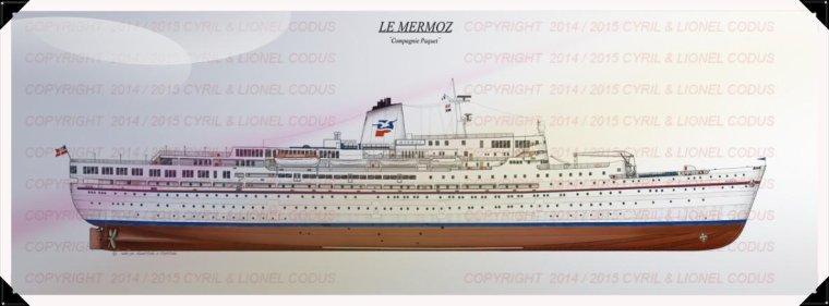 Le Magnifique plan du paquebot Mermoz de la compagnie PAQUET