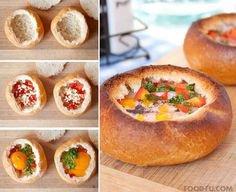 petits pains au fromage , jambon et oeufs