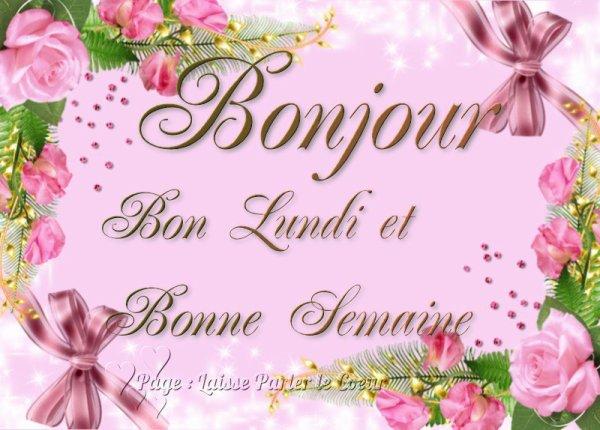A VOUS TOUS ET TOUTES,BONNE SEMAINE,ET BON LUNDI  !!!!!