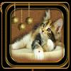 Une jolie création  du blog de mon amie Geraldine! Il est mignon ce petit chat! Elles sont belles ses petites boules dorées!  bisous! Ginette!