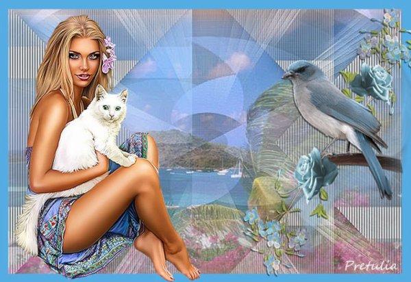 Une jolie création du blog de mon amie Prétulia! prendre le temps de profiter de son chat et d'admirer cette nature! bisous! Ginette!