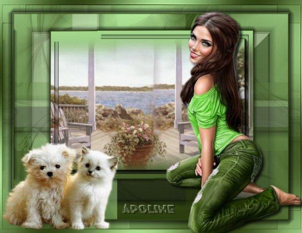 Une jolie création du blog de mon amie Apoline! Soyons heureux avec nos tendres animaux de compagnie! bisous! Ginette!