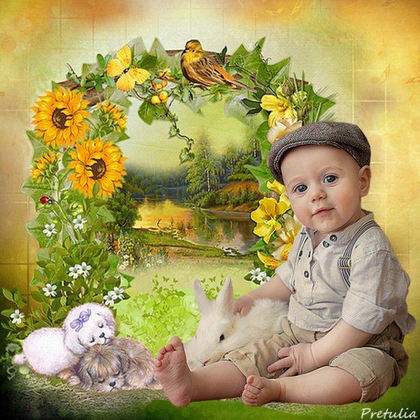 Une très belle création du blog de mon amie Prétulia! Un adorable bambin dans un univers de douceur! bisous! Ginette!