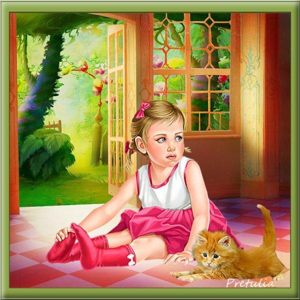 Une jolie création du blog de mon amie Prétulia! J'aime passé un doux moment avec mon chaton ! bisous! Ginette!