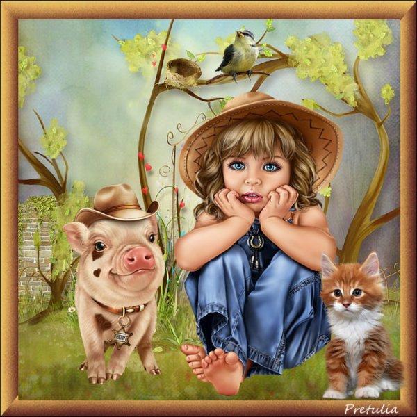 Une jolie créa de mon amie Prétulia! Soyons tous unis et d'apporter de l'amour à tous les animaux de notre terre!  bisous! Ginette!
