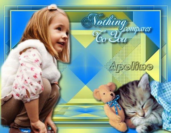 Une jolie création du blog de mon amie Apoline! CHUT PAS DE BRUIT! Il dort avec son doudou! bisous! Ginette!