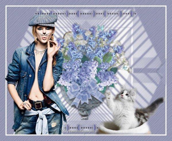 Une jolie création du blog de mon amie VIVI! Merci! mais qui est le chat? bisous Ginette!