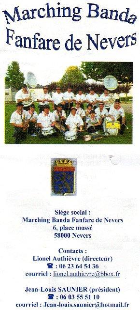 La nouvelle carte de visite de nos amis,de la fanfare de Nevers 2012