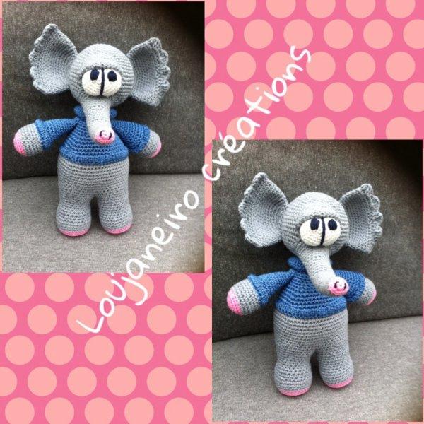 Un éléphant en coton réalisé au crochet