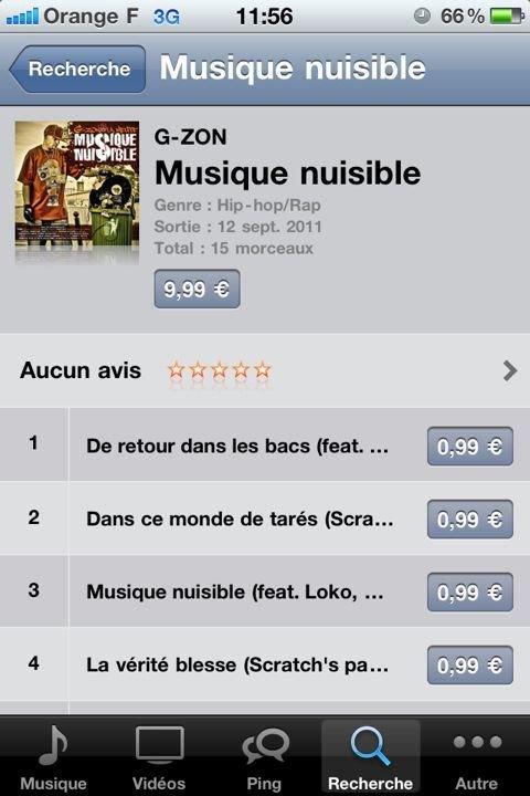 """PRÉPAREZ VOS IPHONE !!!! L'ALBUM DE G-ZON """"MUSIQUE NUISIBLE"""" DANS LES BACS DEPUIS LE 12 SEPTEMBRE 2011 DÉBOULE SUR ITUNES !!!"""