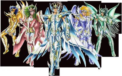 les chevalier de bronze dans leur armure divine