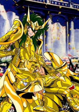 shun et hyoga dans leur armure dorer