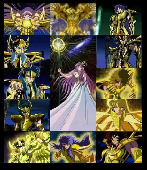 les chevalier d'or et la déesse Athéna