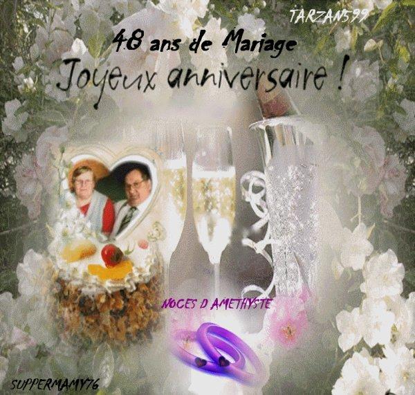Bon anniversaire de mariage 48 ans kado tarzan599 amour et amitiee - Anniversaire de mariage 6 ans ...