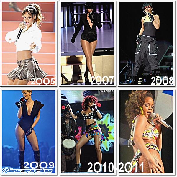 Je vous est choisi quelque photos de 2OO5 à 2O11 lors des années de concert de Rihanna, Une préférence ?   Si Oui! quel année préferes tu ?