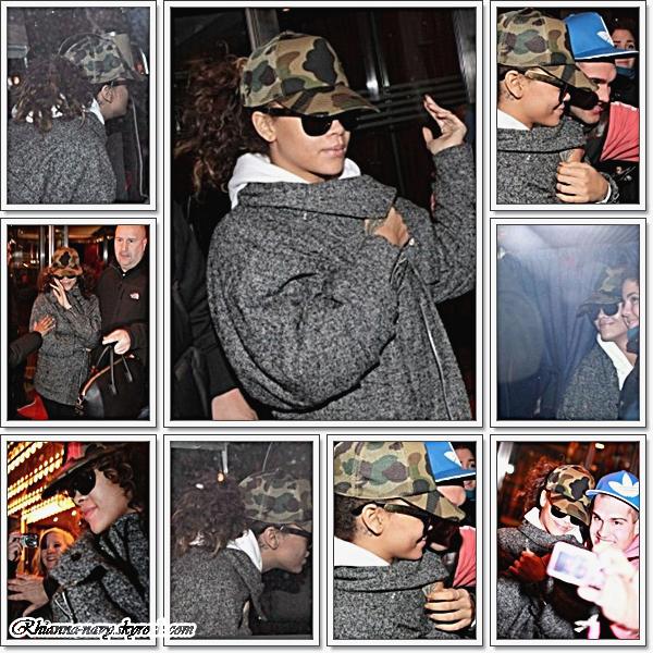 4 Novembre ~quittant son hôtel en Suède , Après avoir été contraint d'annuler deux de ses spectacles en Suède en raison d'un cas de grippe et d'épuisement, Rihanna a été vu quittant son hôtel avec un beau sourire sur son visage. Elle a également posé pour quelques photos avec les fans qui attendaient devant l'hôtel. Espérons qu'elle se sent beaucoup mieux maintenant.  Rihanna meme quand elle ne vas pas trop bien elle a toujours le sourire et elle pose avec ses fans c'est tellement mignon ! :)