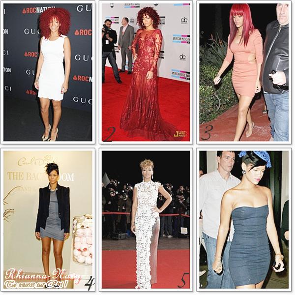 Je vous est choisi quelques Robes de soirée que Ririh portait , lesquelles préferes-tu? Lesquels font un flop ?A chaque fois que Notre belle Rihanna sort c'est un régale pour nos yeux , elle est toujours au Top! Toutes les robes de n'importe quel couturier lui vont bien!  ( Je me suis trompée excuser moi au niveau de la