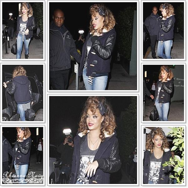 """16 Novembre: Rihanna a été aperçue quittant son restaurant italien préféré hier soir, le « Giorgio Baldi »Rihanna avait une tenue Belle & """"simple"""" maquillé parfaitement bien ! Un gros Top"""