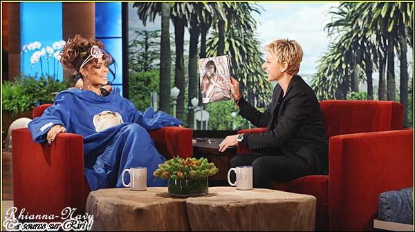>Un peu plus tôt dans la journée, Rihanna a enregistré l'émission du « Ellen DeGeneres Show » qui sera diffusé le lundi 21 novembre sur les télévisions américaines.  ______« J'apprécie les hommes qui sont plus caractériels que mystérieux mais j'aime qu'un homme soit vraiment confiant, » déclare Rihanna. « Je les aime surs d'eux et qu'ils sachent qu'ils sont l'homme. Je suis la femme et le seul moyen pour nous de faire ce travail et de jouer nos rôles. Vous savez, je ne peux vraiment pas être l'homme. Je n'ai pas envie de l'être. Je suis constamment l'homme au travail. »