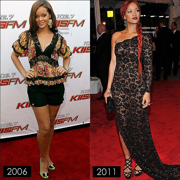 Article en collaboration avec : FentyRihanna ! . .  . RIHANNA FENTY A ÉVOLUÉE MAIS QUELLE ANNÉE AS-TU PRÉFÉRÉ ? Rihanna , évolue est ne fais que nous séduire avec ses tenues de plus en plus sexy; Tu préfère l'année 2006 ou bien l'année 2011 ?  .