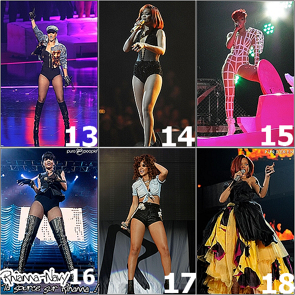 * * Voici quelques tennues que Rihanna a porter sur scène ses dernières années  Lesquelles qont tes favorites ? ou celles que tu n'aimes pas tellement ? * *