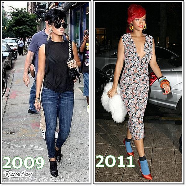 Quel est la tennue que tu préferes le plus?  Tu préferes Rihanna en 2OO9 ou en 2011 ?