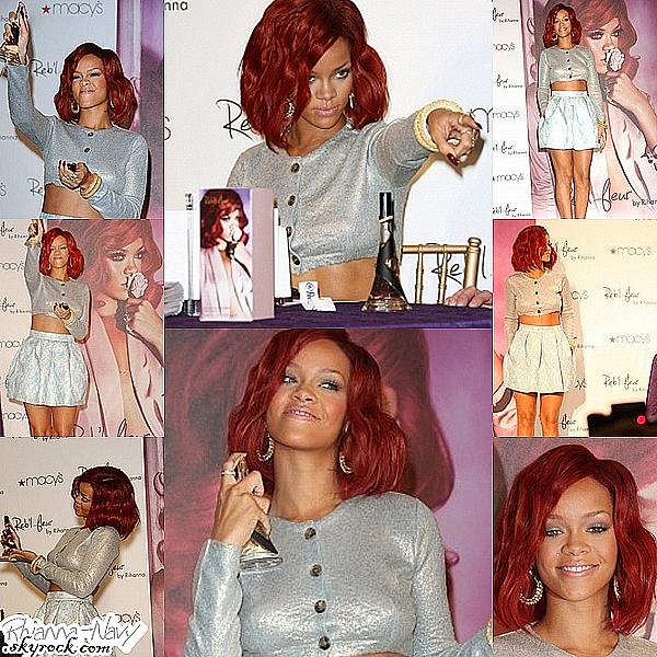 """**J-1 avant la fin du """"Loud tour """" Ceci est un flashback ! Le 18 Février dernier nous retrouvons Rihanna toute belle est souriante faire la  promotion de son nouveau parfum """"Reb'l Fleur"""" au magasin """"Macy Lakewood"""" de Los Angeles. J'adore sa tennue sa lui va super bien, elle a assorti les couleurs, comme ci on revenais en Eté, Un gros top pour moi ! Sa coiffure , son maquillage tout est réussi ! Bravo rihanna, tu nous a encore épaté ! Top ou flop pour toi ?"""