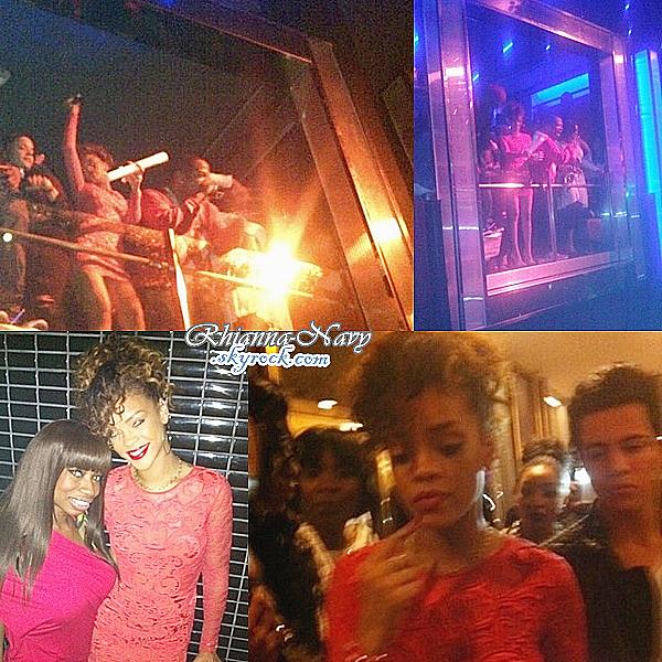 01 Janvier;Rihanna au club « LIV » à Miami Rihanna était encore . Elle y a retrouvé Lil Wayne et DMX qui se produisaient dans la boîte de nuit. D'après les personnes présentes, elle a beaucoup dansé et profité de l'ambiance, J'adore sa robe, top ou flop ?