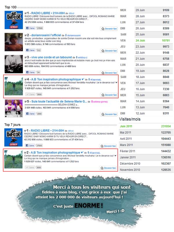 Aujourd'hui le blog a atteint c'est 2 millions de visites grâce a vous ! :D