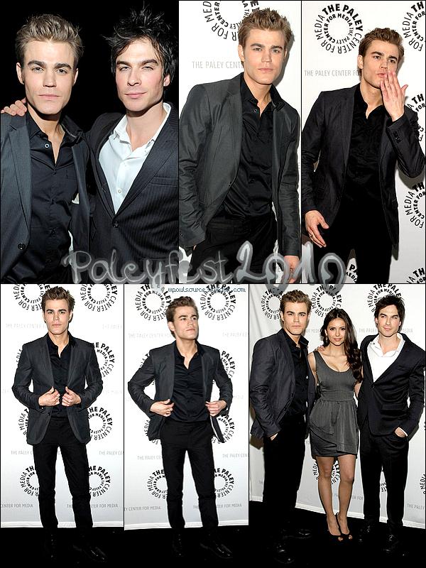 6 Mars 2010  Tout le Cast de TVD était au PaleyFest. J'ai cramé : Paul a un costume ARMANI  ;) Et la robe de Nina est très moche.