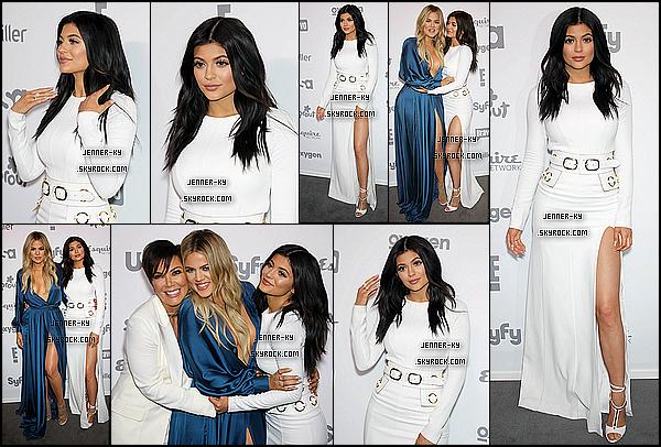 *14/05/15 - Kylie, Khloe et Kris ont été présente au NBCUniversal Cable Entertainment Upfront . Kylie était vêtue d'une magnifique longue robe blanche. Je la trouve vraiment radieuse ici ! Ses chaussures sont splendides. Des avis ?*