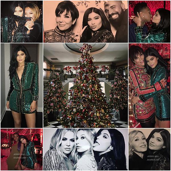 *24/12/15 - Kylie et toute la family pour leurs fête de Noël. Kylie est splendide dans cette robe pailletée verte, je lui accorde un beau top!*