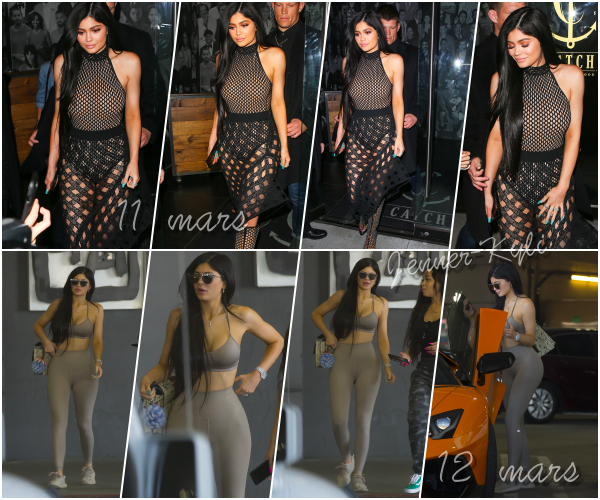 *01/03/17 - Kylie a été vue se balader dans Calabasas. Je n'aime pas vraiment la tenue de Kylie, cet effet sportwear retourné j'aime pas trop... En plus, Kylie se cache. Dommage.*