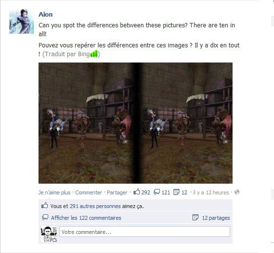 Facebook.com AionOfficial - les 10 différences