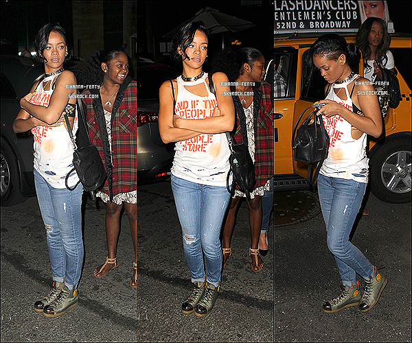 14.06.2012 : Rihanna à été aperçue quittant son hôtel  pour se rendre dans un bar.