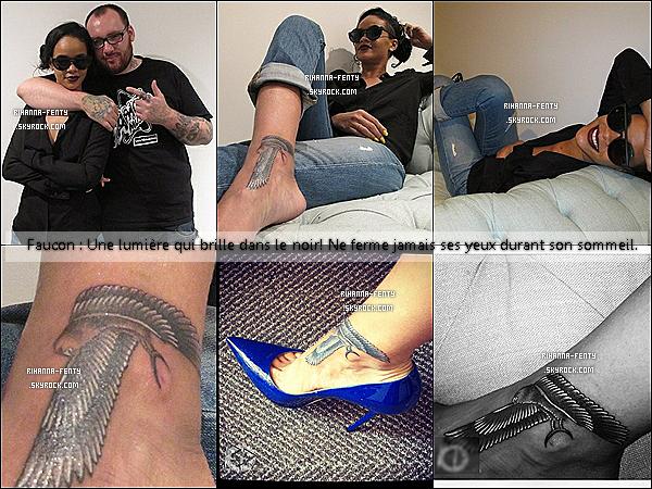 15.06.2012 : Rihanna est parti se faire tatouer un faucon égyptien sur le pied droit.